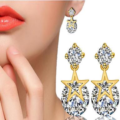 أقراط الزر مكعب زركونيا تقليد الماس موضة اسلوب لطيف مطلية بالذهب Star Shape مجوهرات إلى يوميا فضفاض 1 زوج