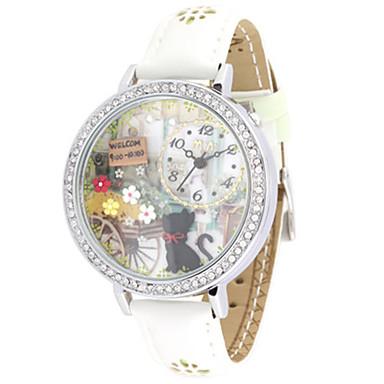 Dames Modieus horloge Kwarts Leer Band Wit Groen