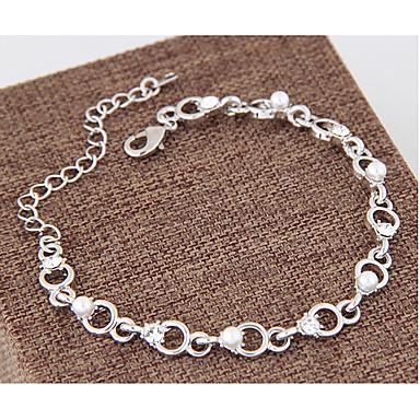 Pentru femei Ștras Imitație de Perle Brățări cu Lanț & Legături - Modă Circle Shape Argintiu Brățări Pentru Casul / Zilnic