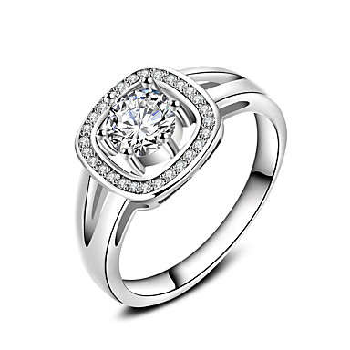 للمرأة خاتم مجوهرات تصميم دائري كلاسيكي دائرة الصداقة euramerican في أسلوب بسيط تصفيح بطلاء الفضة دائري مجوهرات زفاف تخرج المكتب \