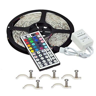 5m مجموعات ضوء 300 المصابيح RGB تحكم عن بعد / قابل للقص / تخفيت 12 V / IP65 / ضد الماء / قابلة للربط / مناسبة للالسيارات / اللصق التلقي