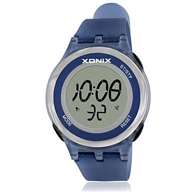 للمرأة ساعة رياضية رقمي مقاوم للماء مطاط فرقة الأبيض أزرق بنفجسي