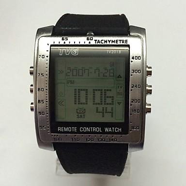 للرجال في سن المراهقة ساعة رياضية ساعة رقمية رقمي LED جهاز تحكم رزنامه ساعة التوقف قضية سيليكون فرقة عادية أسود