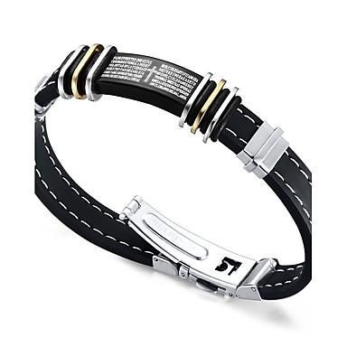 voordelige Heren Armband-Heren ID-armband Kruis Dames Vriendschap Rock Modieus Hip-hop Siliconen Armband sieraden Zwart Voor Kerstcadeaus Verjaardag Lahja Sport / Titanium Staal