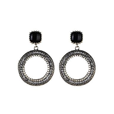 Damen Mädchen Tropfen-Ohrringe Synthetischer Diamant Personalisiert Kreisförmiges Einzigartiges Design Klassisch Etikett Hypoallergen