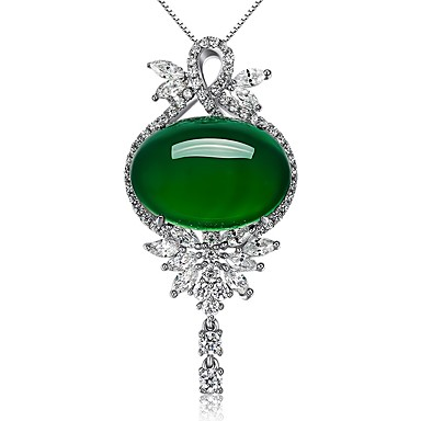 Pentru femei Sintetic Emerald Smarald Coliere cu Pandativ - Euramerican Modă stil minimalist Altele Verde Închis Coliere Pentru Nuntă