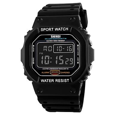 SKMEI Heren Digitaal Digitaal horloge Sporthorloge Kalender Waterbestendig Stopwatch PU Band Amulet Zwart