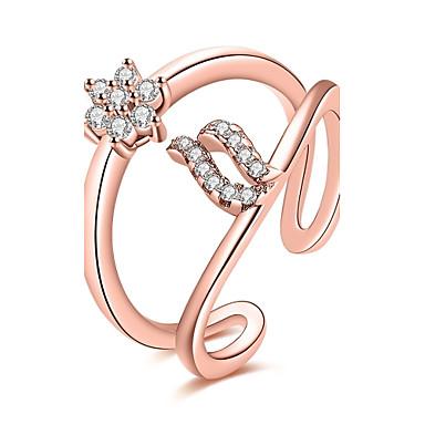 Damen Ring Kubikzirkonia Silber Rotgold Roségold Zirkon Kupfer versilbert Rose Gold überzogen Geometrische Form Irregulär Personalisiert