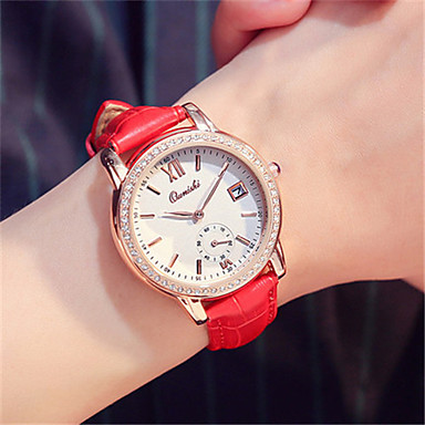 Dames Modieus horloge Polshorloge Kwarts Kalender Leer Band Rood Bruin Roze Paars