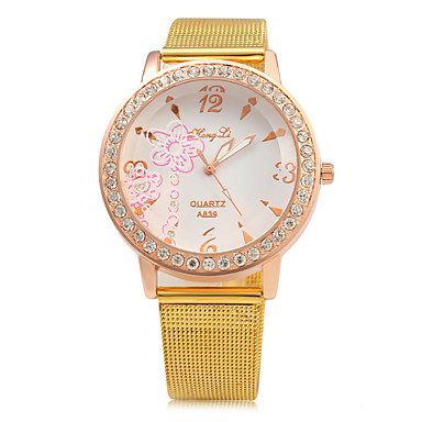 Dames Modieus horloge Chinees Kwarts Grote wijzerplaat Metaal Band Luxe Glitter Goud