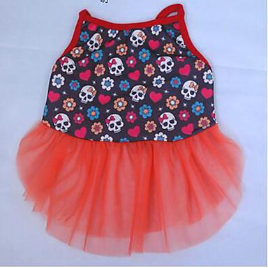 Hund Mäntel Kleider Hundekleidung Totenkopf Motiv Weiß Rot Blau Stoff Kostüm Für Haustiere Sommer Damen Party Lässig/Alltäglich