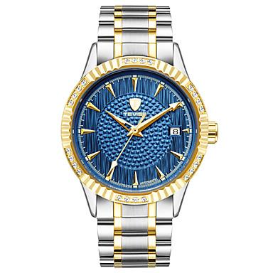 Недорогие Часы на металлическом ремешке-Муж. Спортивные часы Модные часы Часы со скелетом С автоподзаводом Нержавеющая сталь Белый / Золотистый 30 m Защита от влаги Календарь Светящийся Аналоговый Винтаж На каждый день Богемные -