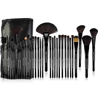 Make-up For You® 32 Parça  At Kılı Bakteri Karşıtı Profesyonel Makyaj Fırçası Seti - Siyah fondöten/pudra/allık/far/kaş/kirpik/eyeliner/dudak fırçası