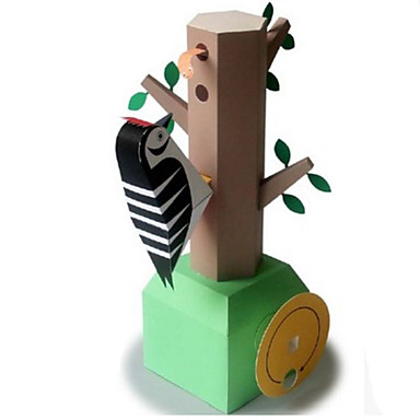 قطع تركيب3D نموذج الورق مجموعات البناء عصفور نقار الخشب اصنع بنفسك كلاسيكي للأطفال للجنسين هدية