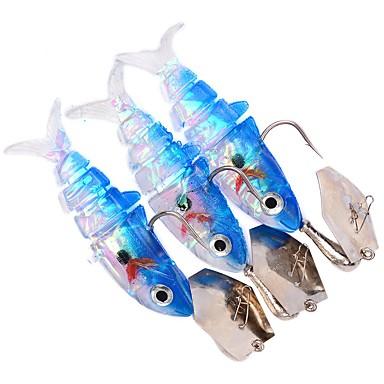 3 pcs Leurre souple leurres de pêche Appâts souples Shad Têtes plombées Kits de leurre Leurre souple Plastique souple Plomb Pêche en mer