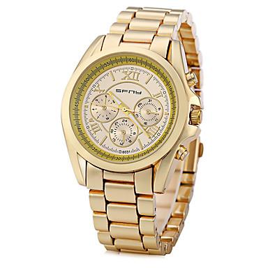 Heren Modieus horloge Unieke creatieve horloge Gesimuleerd Diamant Horloge Chinees Kwarts Grote wijzerplaat Metaal Band Glitter Wit Goud