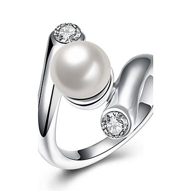 Damen Ring Kubikzirkonia Imitierte Perlen Silber Künstliche Perle Zirkon Kupfer versilbert Geometrische Form Irregulär Personalisiert