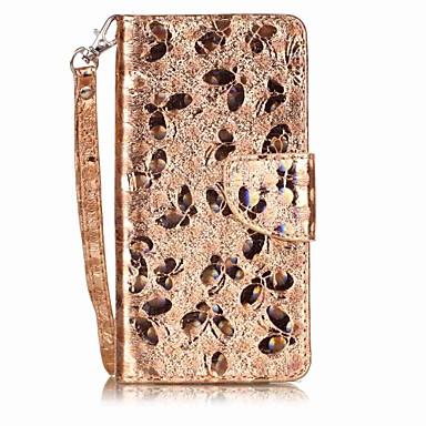 Hülle Für LG Kreditkartenfächer Flipbare Hülle Muster Ganzkörper-Gehäuse Schmetterling Glänzender Schein Hart PU-Leder für LG X Style LG