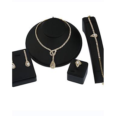 Dames Sieraden Set Ketting / Oorbellen Bruidssieradensets Cirkelvormig ontwerp Meetkundig Bloemen  Kostuum juwelen Metaallegering Strass