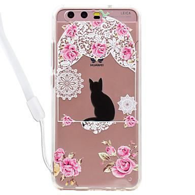 Hülle Für Huawei Transparent Muster Rückseitenabdeckung Katze Durchsichtig Blume Hart Acryl für Huawei P10 Lite Huawei P10 Huawei P9 Lite