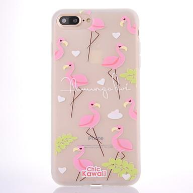 Für Hüllen Cover Mattiert Durchscheinend Muster Rückseitenabdeckung Hülle Wort / Satz Flamingo Baum Weich TPU für Apple iPhone 7 plus