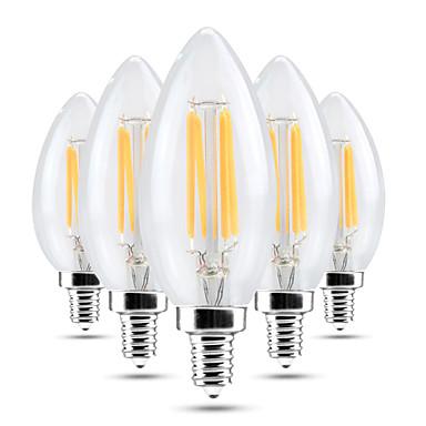 YWXLIGHT® 4W 300-400 lm E14 LED 캔들 조명 C35 4 LED가 COB 밝기조절가능 장식 따뜻한 화이트 차가운 화이트 AC 220-240V