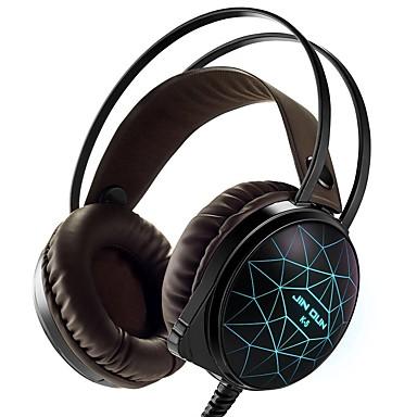 Stereo pc gaming headset 7 kleuren ademhaling geleid licht over-hoofd koptelefoon met microfoon gebogen voor comtuper games