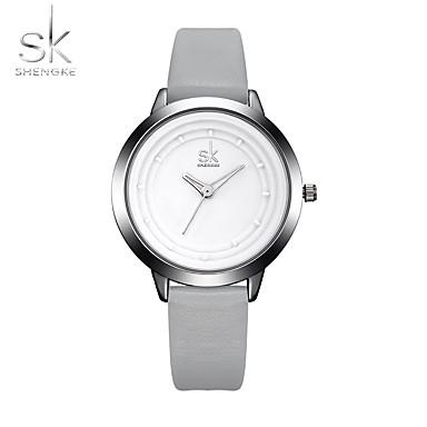 SK Damen Quartz Armbanduhr Sportuhr Chinesisch Großes Ziffernblatt Schockresistent PU Band Luxus Freizeit Minimalistisch Cool Grau
