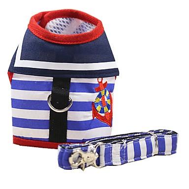 قط كلب أربطة المقاود المحمول متنفس قابلة للطى الأمان قابل للتعديل مخطط قماش نايلون أحمر أزرق