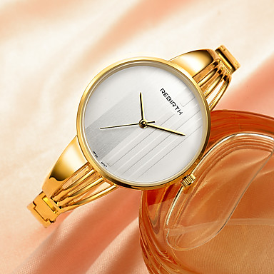 REBIRTH Damen Armbanduhr Modeuhr Quartz Legierung Band Silber Gold