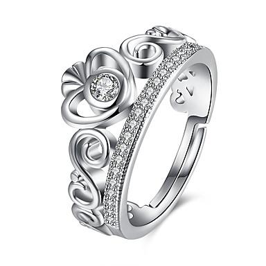 Dames Ring Kubieke Zirkonia Zilver Zirkonia Koper Verzilverd Legering Geometrische vorm epäsäännöllinen Hart Gepersonaliseerde Luxe