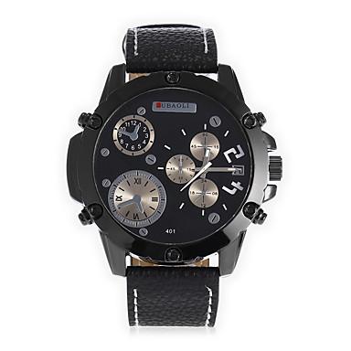 JUBAOLI Bărbați Unic Creative ceas Ceas La Modă Chineză Quartz Calendar Mare Dial Piele Bandă Cool Negru