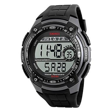זול שעוני גברים-SKMEI בגדי ריקוד גברים שעוני ספורט שעון דיגיטלי דיגיטלי דמוי עור מרופד שחור עמיד במים שעון עצר מגניב דיגיטלי כתום אדום כסף / אפור שנתיים חיי סוללה / Maxell CR2025