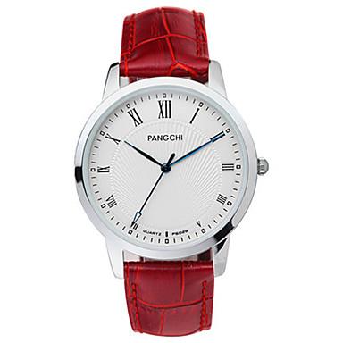 Heren Dress horloge Modieus horloge Kwarts Kalender Waterbestendig Leer Band Zwart Wit Blauw Rood Bruin