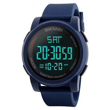 c87bc3558 SKMEI رجالي ساعة رياضية ساعة عسكرية ساعة المعصم ياباني رقمي جلد اصطناعي  أسود / أزرق /