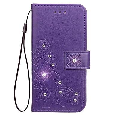 Maska Pentru Samsung Galaxy Titluar Card Portofel Stras Cu Stand Întoarce Magnetic Model Embosat Carcasă Telefon Culoare solidă Floare