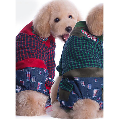 كلب حللا ملابس الكلاب Plaid / Check أحمر أخضر قماش الفانيلا قطن بطانة فرو كوستيوم للحيوانات الأليفة للرجال للمرأة كاجوال / يومي