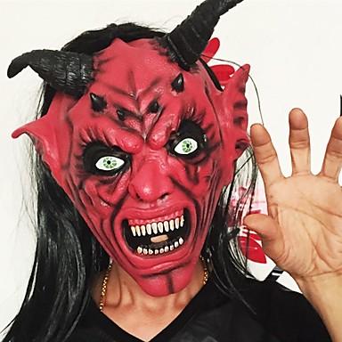 Duivel inferno satan masker horror halloween nieuwigheid rood gezicht volwassene grootte feest hoofd lang haar masker voor vrouwen mannen