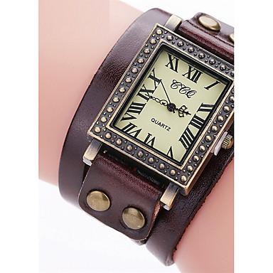 Dames Gesimuleerd Diamant Horloge Unieke creatieve horloge Armbandhorloge Vrijetijdshorloge Chinees Kwarts Vrijetijdshorloge Leer Band