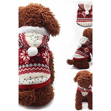 Hund Kapuzenshirts Hundekleidung Lässig/Alltäglich Schneeflocke Braun Rot