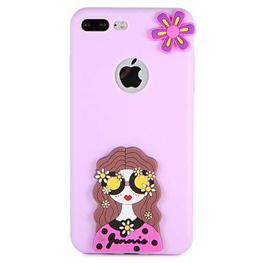 hoesje Voor Apple iPhone 7 Plus iPhone 7 Patroon Achterkant Sexy dame Bloem 3D Cartoon Zacht Siliconen voor iPhone 7 Plus iPhone 7 iPhone