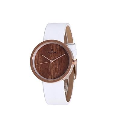 Dames Modieus horloge Horloge Hout Japans Kwarts houten PU Band Bedeltjes Elegante horloges Wit