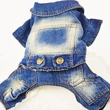 Hund Jeansjacken Hundekleidung Jeans Dunkelblau Blau Jeansstoff Kostüm Für Haustiere Herrn Damen Lässig/Alltäglich Cowboy