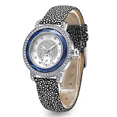 Dames Modieus horloge Kwarts Leer Band Zwart Blauw