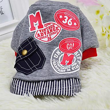 Hund Pullover Hundekleidung Buchstabe & Nummer Grau Rot Baumwolle Daune Kostüm Für Haustiere Herrn Damen Lässig / Alltäglich