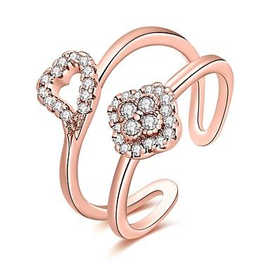 Dames Ring Kubieke Zirkonia Zilver Goud Rose Ruusukulta Zirkonia Koper Verzilverd Roos verguld Geometrische vorm epäsäännöllinen