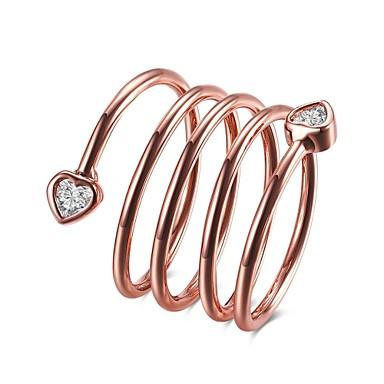 Damen Ring Kubikzirkonia Basis Einzigartiges Design Herz Geometrisch Kreis Freundschaft bezaubernd individualisiert Hip-Hop Hypoallergen
