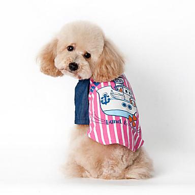 كلب سترة ملابس الكلاب بحار أزرق زهري قطن كوستيوم للحيوانات الأليفة صيف للرجال للمرأة كاجوال / يومي