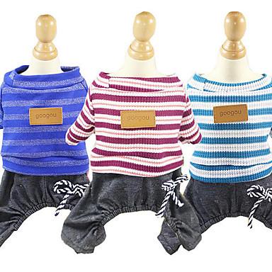 Hund Overall Hundekleidung Streifen Dunkelblau Rot Blau Baumwolle Kostüm Für Haustiere Herrn Damen Lässig / Alltäglich
