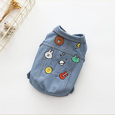 كلب T-skjorte جواكيت جينز ملابس الكلاب ريفي كاجوال/يومي كارتون كوستيوم للحيوانات الأليفة